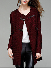 Collarless Plain Online Cardigan