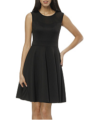 Black Round Neck Hollow Out Plain Skater Dress