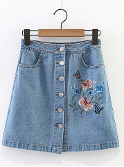 Single-Breasted-Draped-Pocket-Embroidery-A-Line-Above-Knee-Skirt