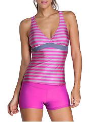 Deep-V-Neck-Racerback-Striped-Swimwear