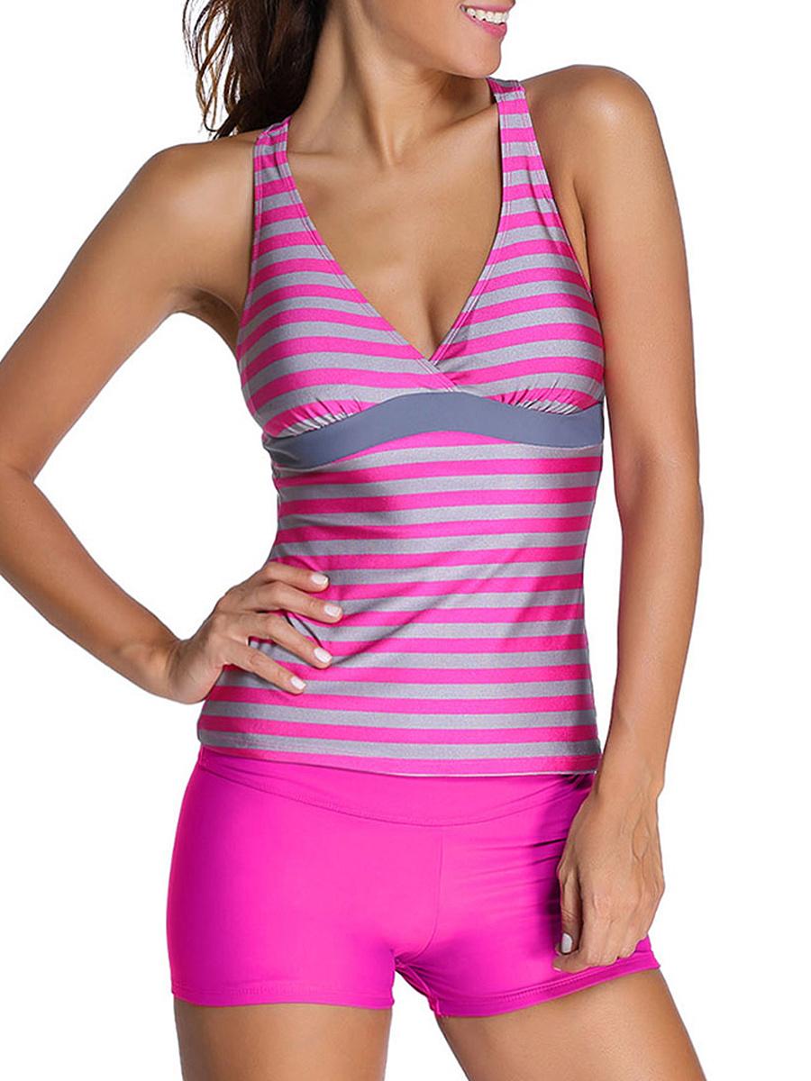 Deep V-Neck  Racerback  Striped Swimwear