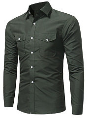 Turn-Down-Collar-Flap-Pocket-Plain-Men-Shirts