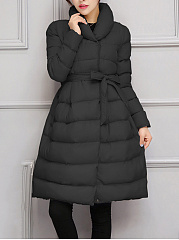 Shawl Collar Belt Quilted Plain Longline Padded Coat