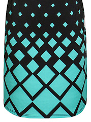 Round Neck  Geometric Plus Size Bodycon Dress