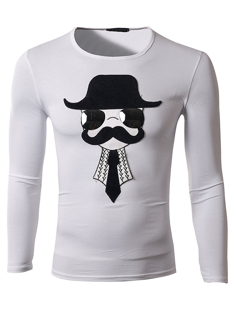 Men Round Neck Cartoon Patch T-Shirt