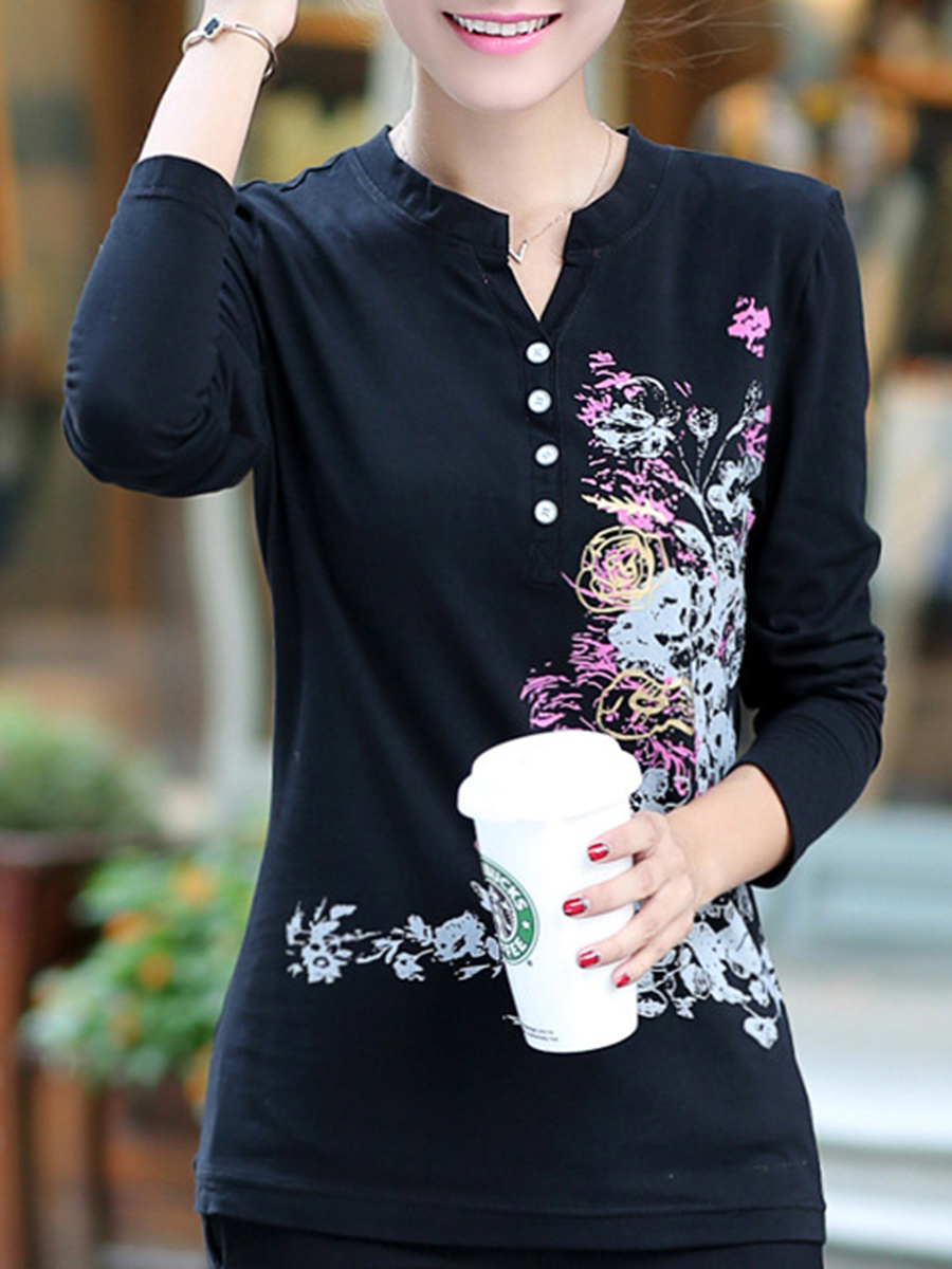 Split Neck  Printed Long Sleeve T-Shirt