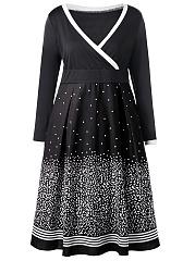 V-Neck-Inverted-Pleat-Printed-Skater-Dress
