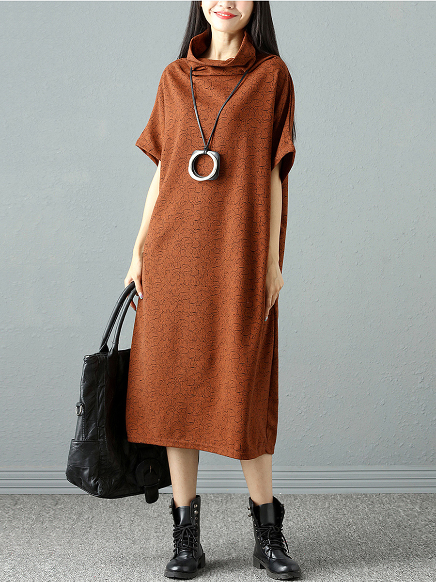 High Neck Plain Pocket Loose Maxi Dress