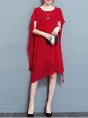 Cape-Sleeve-Asymmetric-Hem-Plain-Chiffon-Maxi-Dress