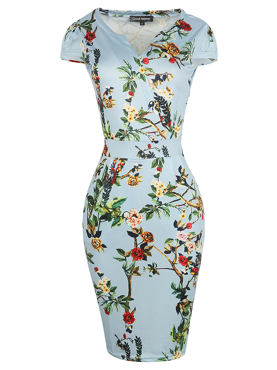 Elegant Split Neck Floral Printed Bodycon Dress