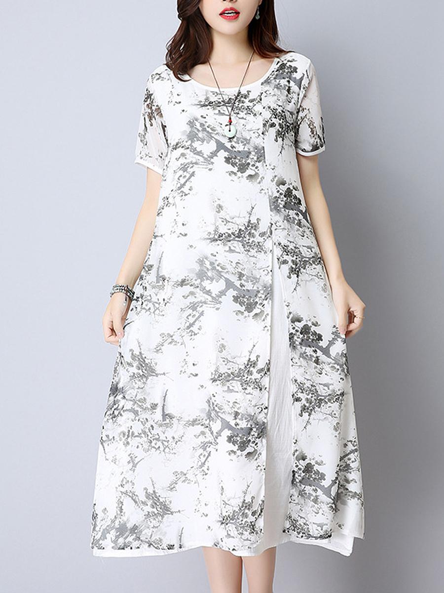 Round Neck  Contrast Trim  Printed Maxi Dress