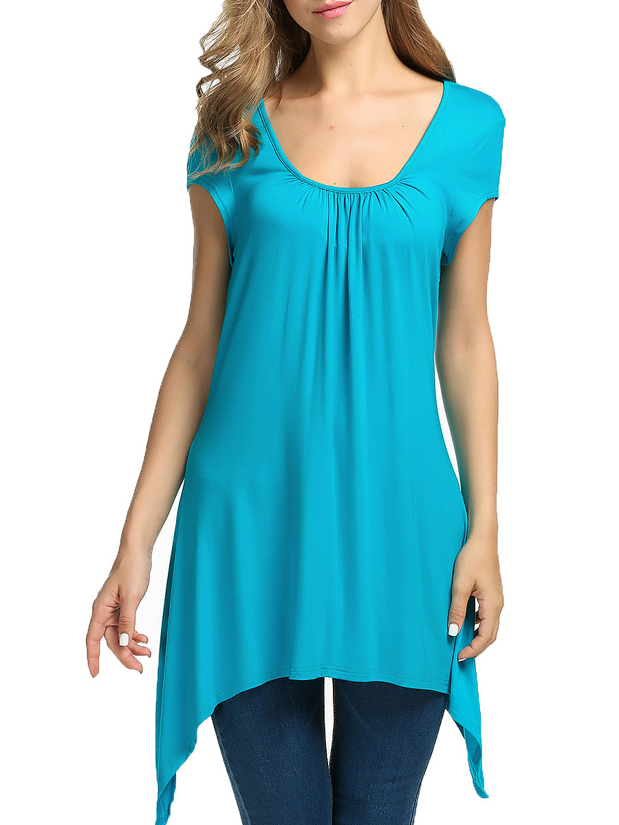 Summer  Rayon  Women  Round Neck  Asymmetric Hem  Plain Sleeveless T-Shirts
