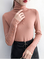 Autumn Spring Winter  Knit  Women  Decorative Button  Plain  Long Sleeve Pullover