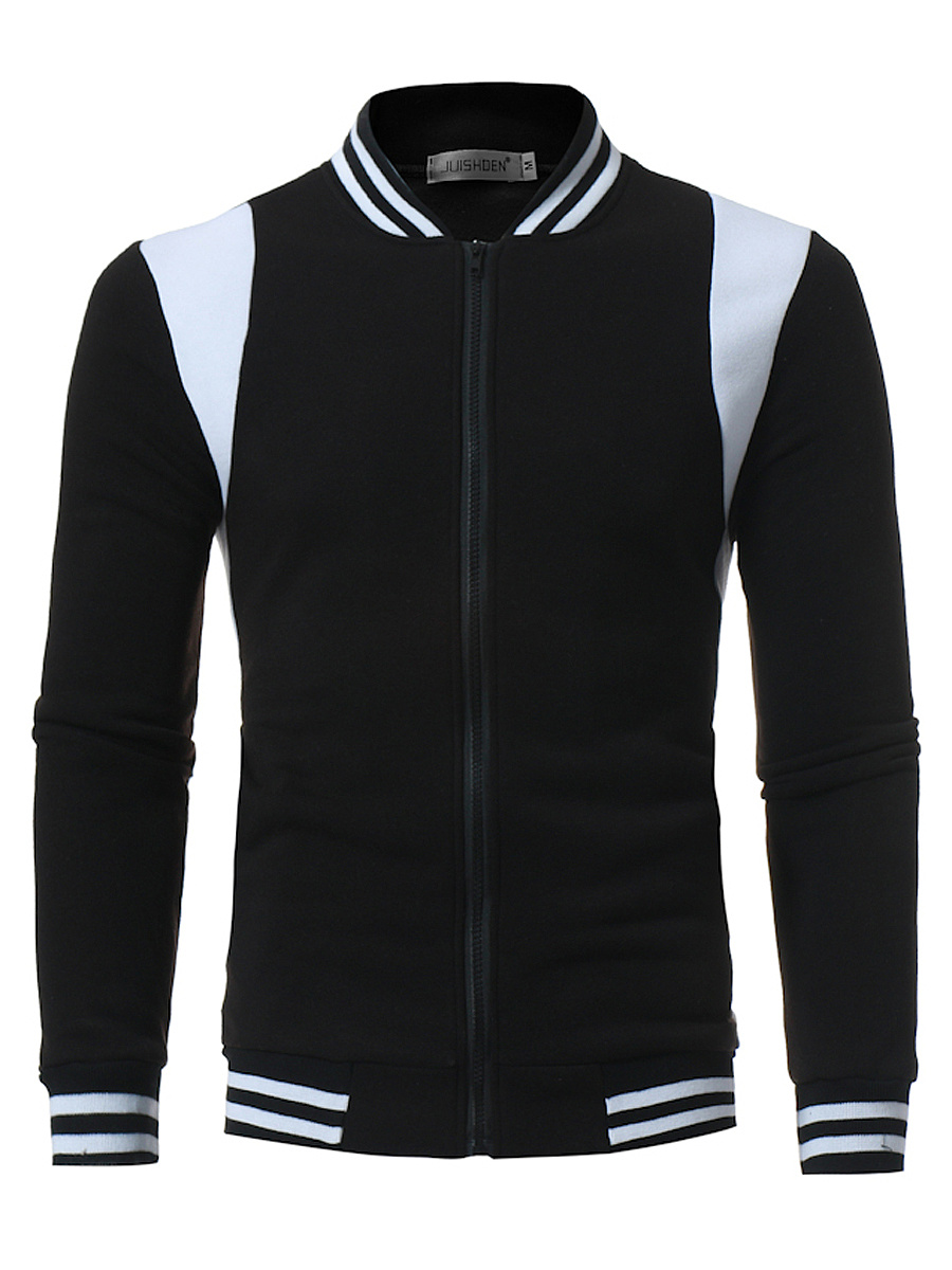 Band Collar  Color Block Striped Men Jacket