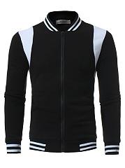 Band-Collar-Color-Block-Striped-Men-Jacket