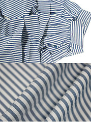 One Shoulder Pinstripe Bowknot Blouse