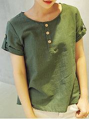 Summer  Cotton/Linen  Women  Round Neck  Decorative Button  Plain  Short Sleeve Blouses