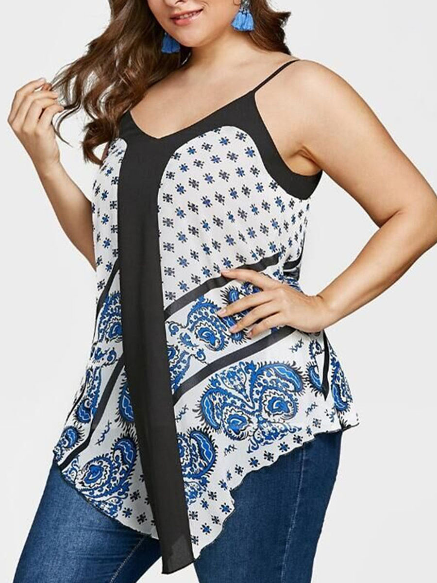 V-Neck  Patchwork  Printed  Sleeveless Plus Size Tops