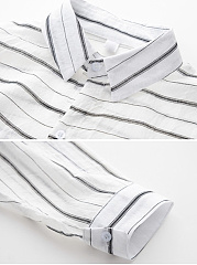 Turn Down Collar  Bowknot Single Breasted  Striped Cardigans