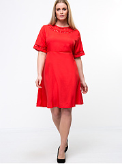 Round Neck  Patchwork  Solid Plus Size Flared Dress