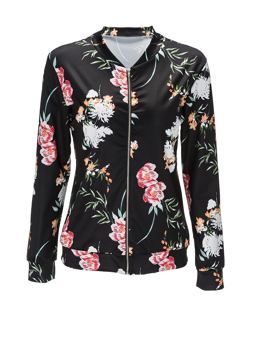 Floral Printed Band Collar Zips Bomber Jacket