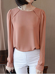 Designed Round Neck Plain Chiffon Blouse