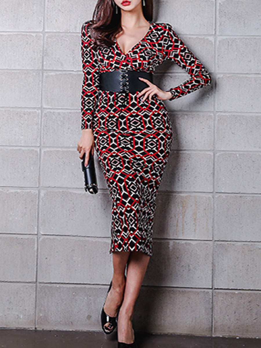 Deep V-Neck  Printed  Blend Shift Dresses