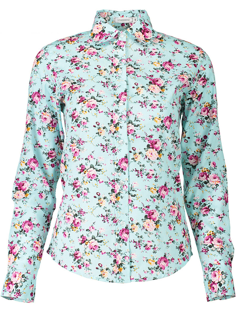 Turn Down Collar Blouse In Floral Printed