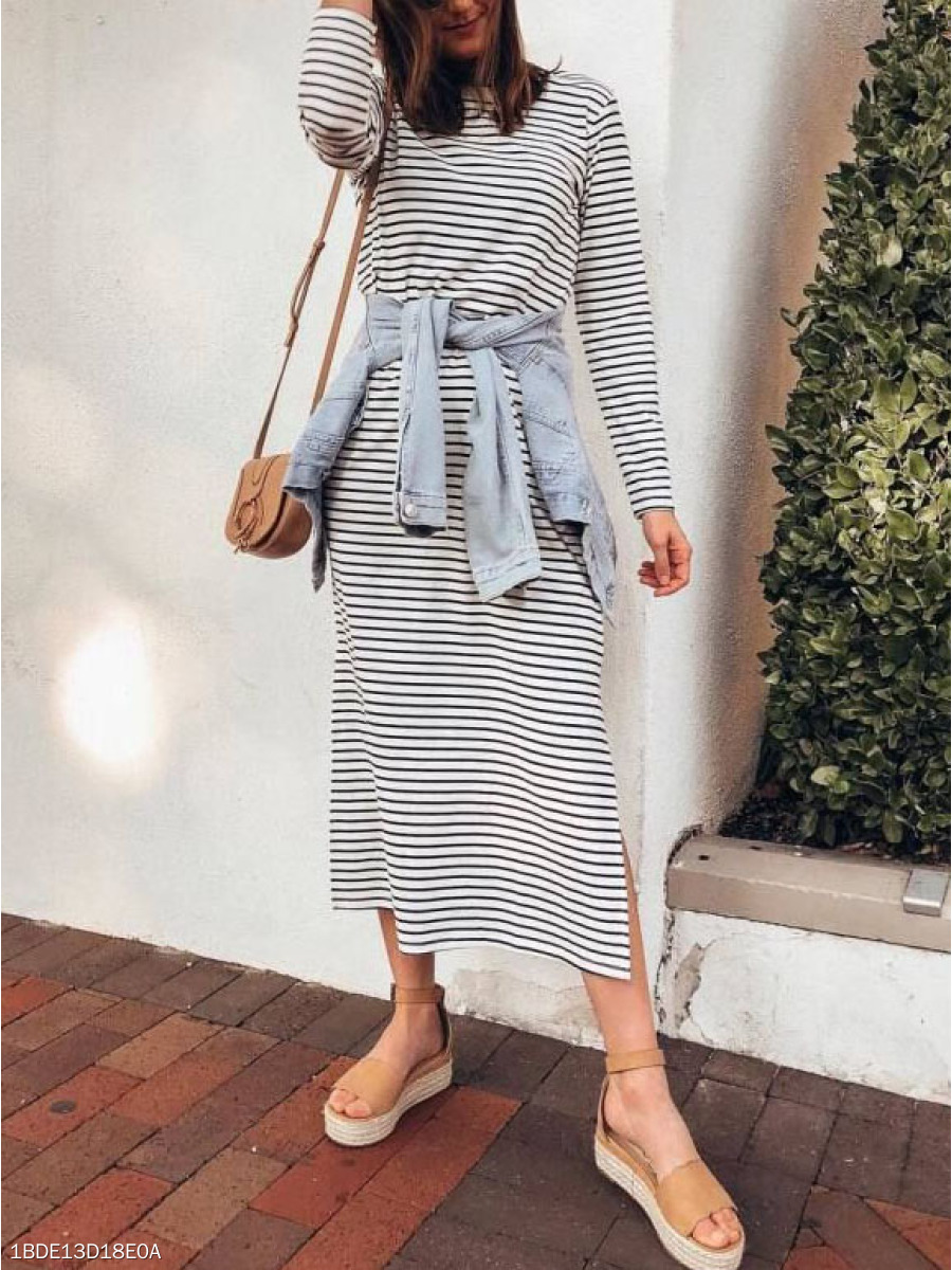 Crew Neck  Single Button  Striped Bodycon Dress
