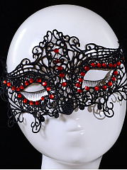 Red Rhinestone Hollow Out Lace Mask