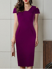 Square Neck  Bust Darts  Plain Bodycon Dress