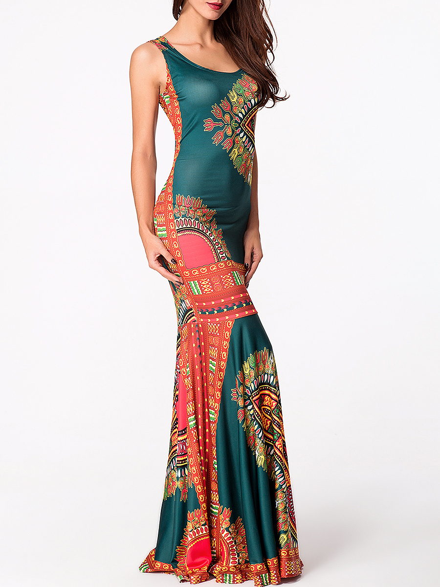 Round Neck Printed Mermaid Maxi Dress