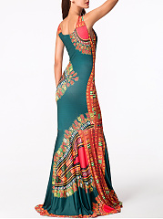 Round Neck Printed Mermaid Maxi Dress