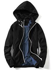 Hooded-Contrast-Trim-Zips-Pocket-Men-Coat