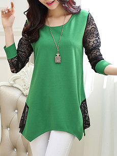 Autumn Spring  Polyester  Women  Round Neck  Asymmetric Hem Patchwork  Plain  Long Sleeve Blouses