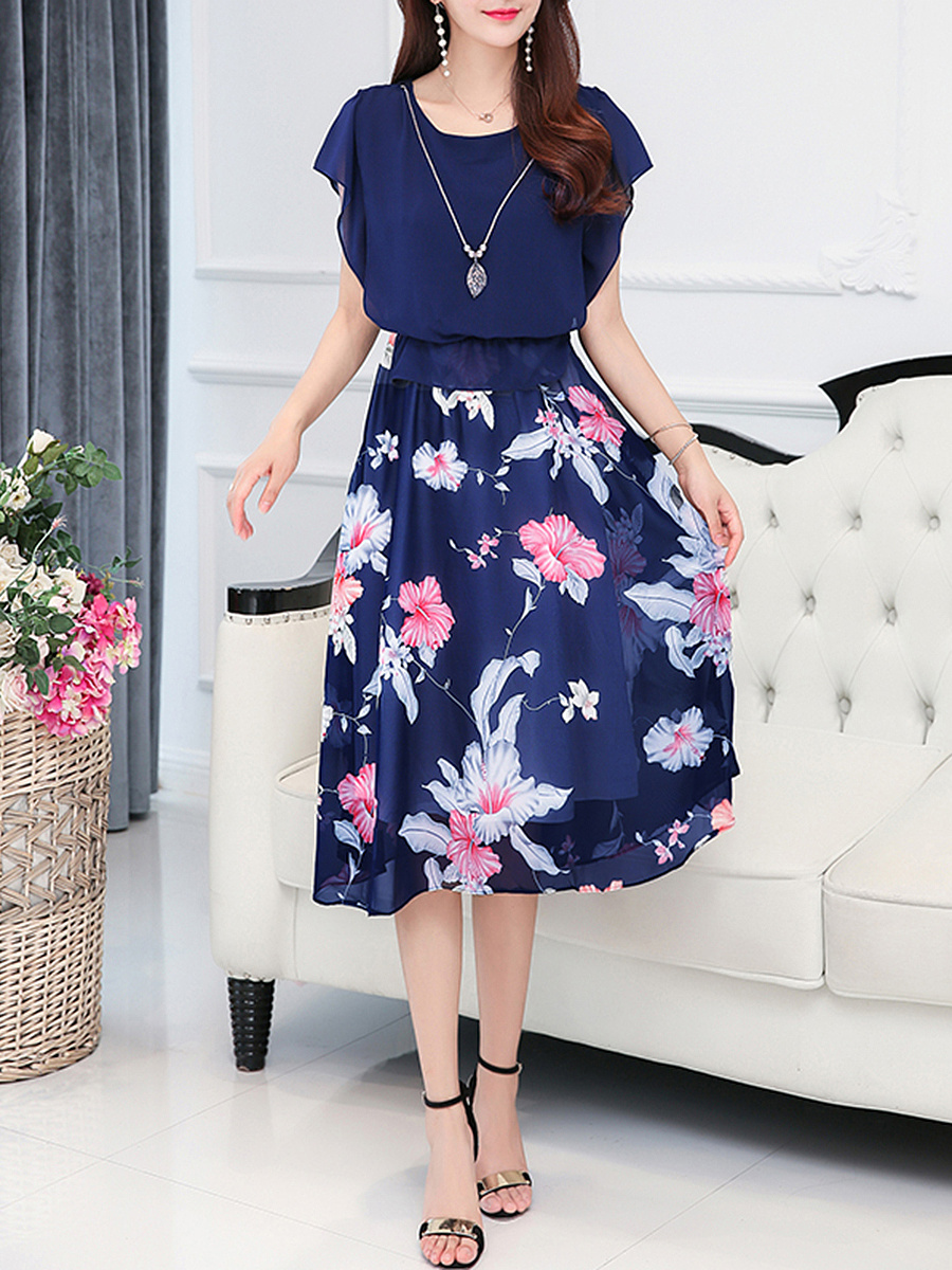 Floral Printed Necklace Chiffon Maxi Dress