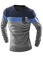 V-Neck-Color-Block-Striped-Men-Sweater