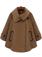 Fold-Over-Collar-Pocket-Plain-Woolen-Coat