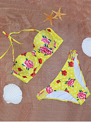 Halter-Hollow-Out-Printed-Bikini