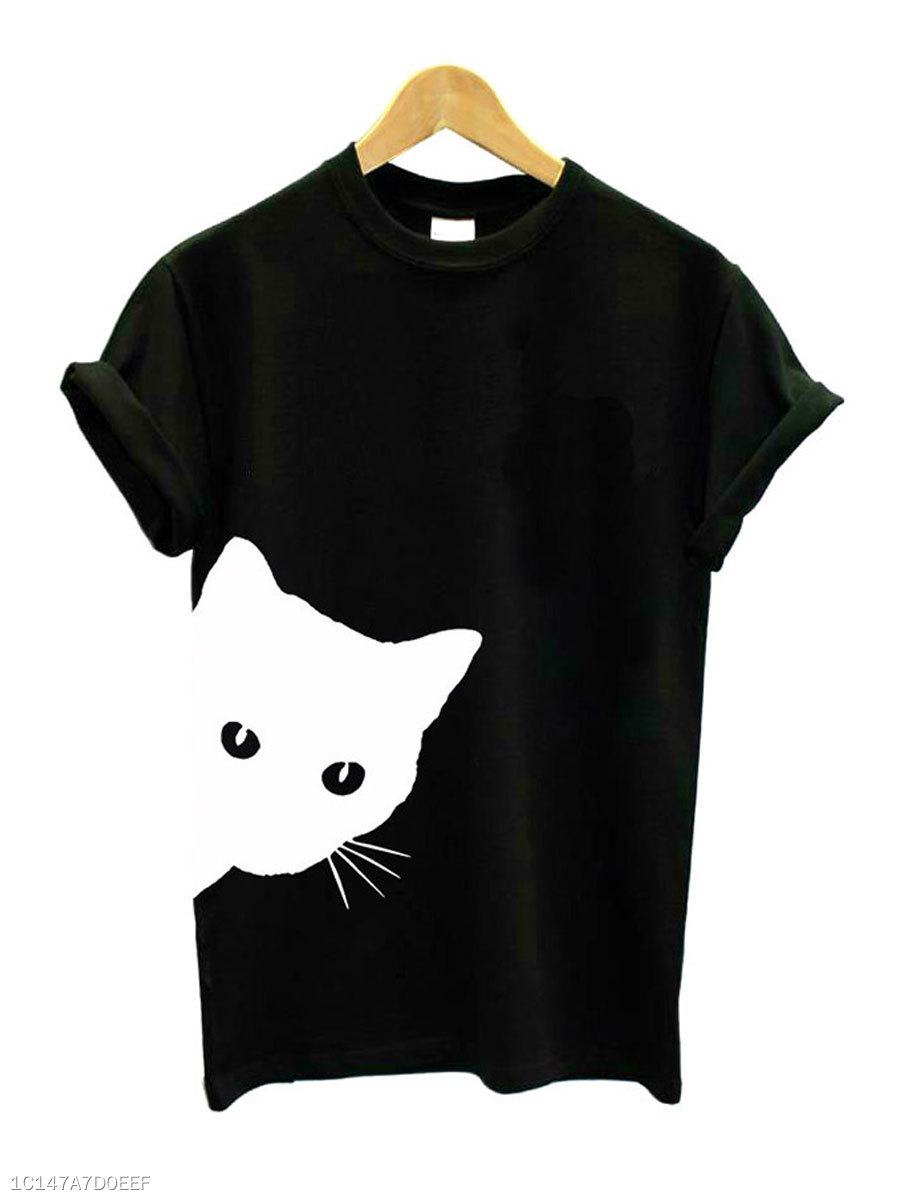 Cat Looking Summer  Cotton  Women  Round Neck  Animal Printed Short Sleeve T-Shirts