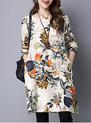 Round-Neck-Pocket-Floral-Printed-Shift-Dress