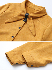 Turn Down Collar  Bow Single Breasted  Plain Blouses