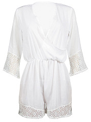Surplice-Elastic-Waist-Hollow-Out-Plain-Romper