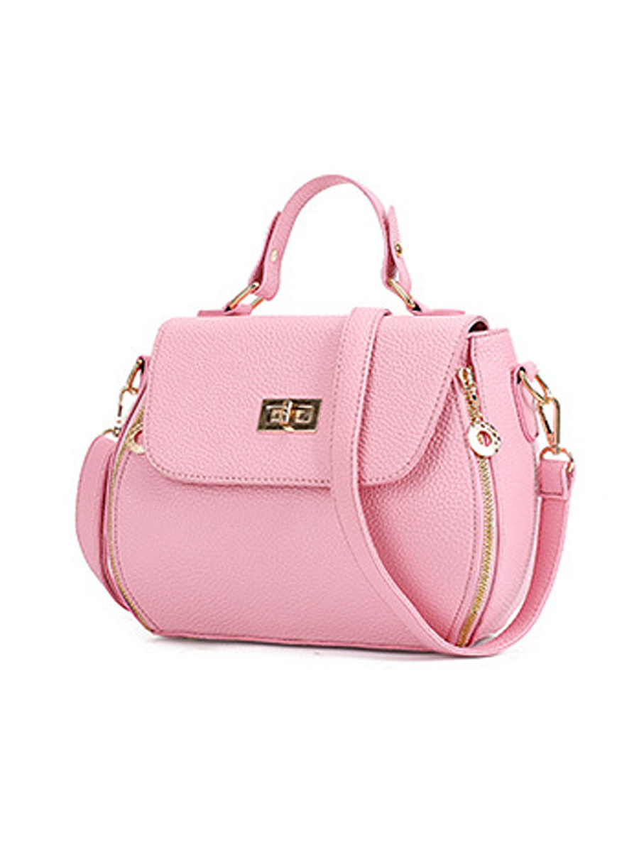 Candy Color Pu Leather Plain Crossbody Bag