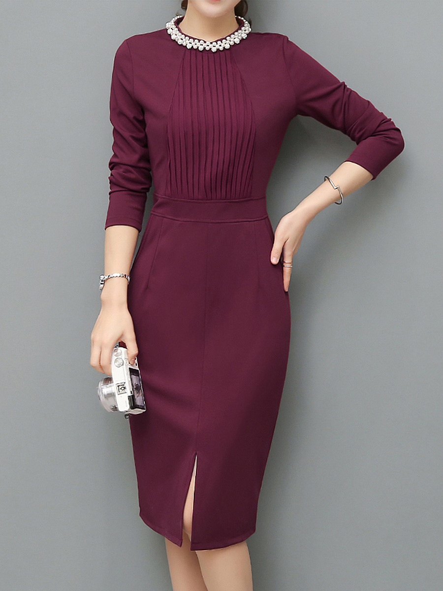 Crew Neck Beading Pocket Plain Slit Midi Bodycon Dress