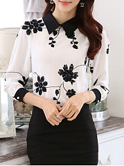Autumn Spring  Chiffon  Women  Doll Collar  Printed  Long Sleeve Blouses