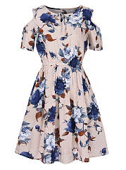 Round Neck  Bowknot  Printed Skater Dress