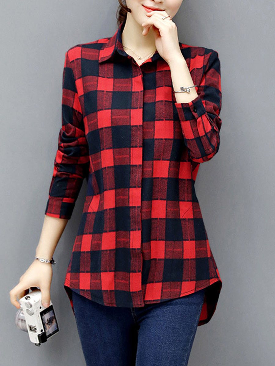 Classic Plaid Long Sleeve Blouse