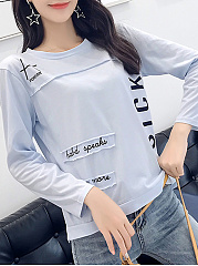 Autumn Spring  Cotton  Women  Round Neck  Patchwork  Letters Long Sleeve T-Shirts