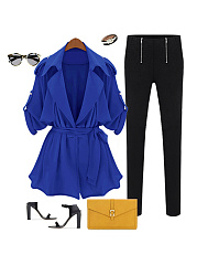 Fold-Over Collar  Belt Storm Flap  Plain  Long Sleeve Trench Coats
